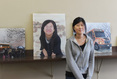 Senior awarded first solo art exhibition in conference room
