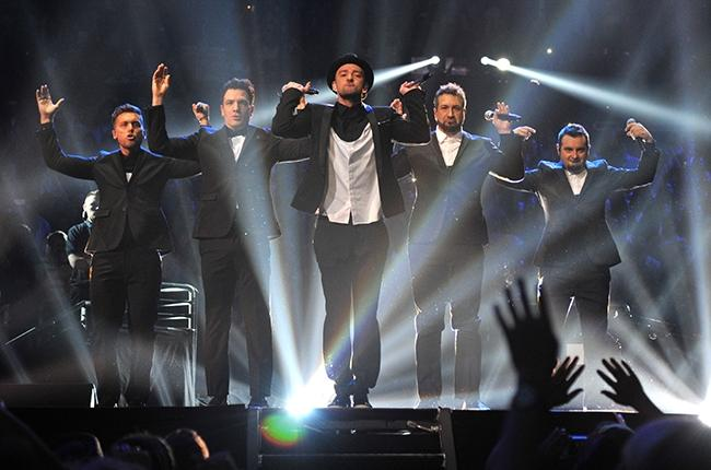 The band that took the world by storm in the 90's, *NSync, reunites for one song during Justin TImberlake's performance at the 2013 VMAs.  The members include (left to right): JC Chasez, Lance Bass, Timberlake, Joey Fatone, and Chris Kirkpatrick.